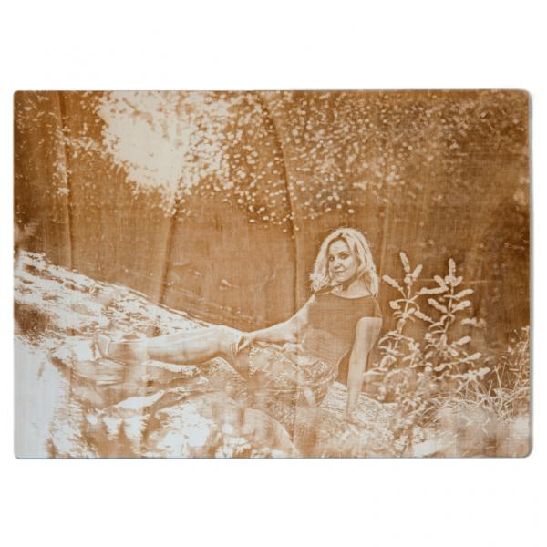 Foto auf Holz graviert | Holzbild mit Fotogravur