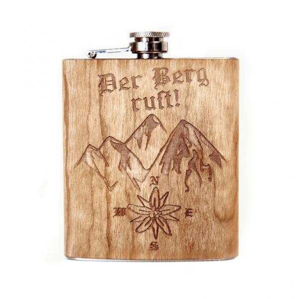 Flachmann mit Holzgravur personalisiert | 7oz Taschenflasche