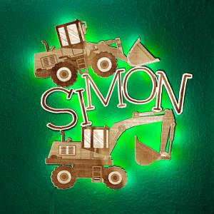Wandbild Simon Leuchte Nachtlicht Grün