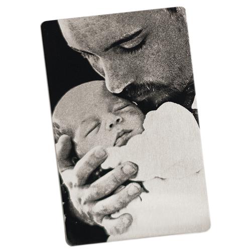 Metalkarte Mann mit Baby (Andere)