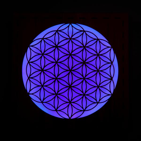 Leuchte Blume des Lebens dunkelblau