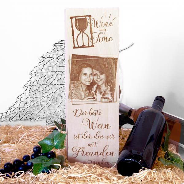 Weinkiste | Weinkassette mit Foto und Spruch graviert