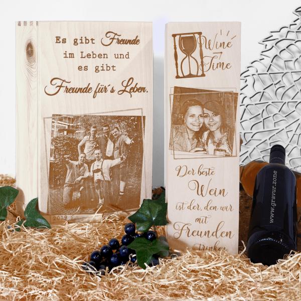 Weinkassette 2er | Weinkiste mit Foto und Spruch graviert