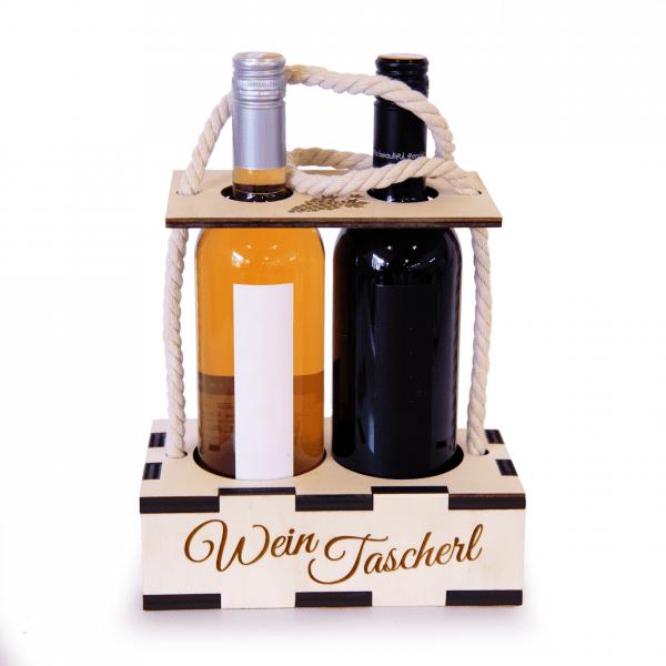 Weinhandtasche mit Wunschgravur | Weingeschenkidee