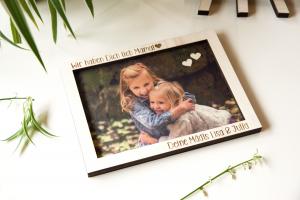 Fotodruck auf Holz mit graviertem Bilderrahmen | ca. 15x20cm
