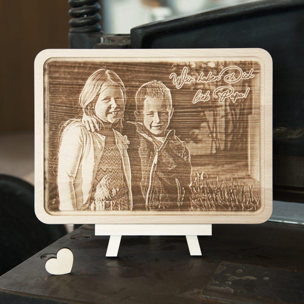 Jausenbrettl mit Fotogravur Buche